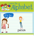 Flashcard letter P is for person vector image