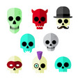 flat skull icons vector image vector image