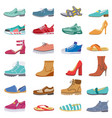 footwear collection male and female shoes vector image