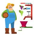 garden man character agriculture farm harvest vector image