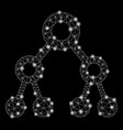 glowing mesh 2d binary tree with flash spots vector image vector image
