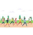 group of people running vector image