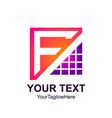 initial letter f logo template colorfull pixel vector image