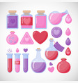 love potion flat icon set vector image vector image