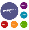 military rifle icons set vector image vector image