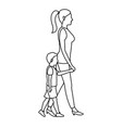 mother and her son walking together outline vector image vector image