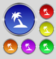 Palm Tree Travel trip icon sign Round symbol on vector image vector image