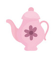 pink kettle with flower vector image vector image
