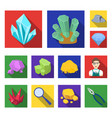 precious minerals flat icons in set collection for vector image vector image