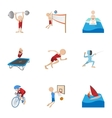 Professional sports icons set cartoon style vector image vector image