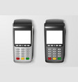 realistic 3d payment machine set pos vector image