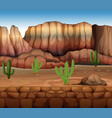 scene with cactus and canyon vector image vector image