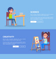 science creativity posters set with girl and boy vector image vector image
