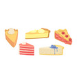 set cakes and pies dessert confectionery vector image