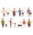 set character on bbq party mans with a vector image vector image