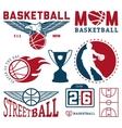 set vintage basketball badges and labels vector image