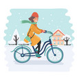 smiling snow biker girl vector image