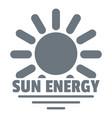 sun energy logo simple gray style vector image vector image