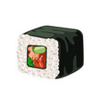 sushi roll with nori rice and salmon traditional vector image
