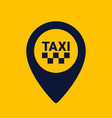 taxi icon map pin shape icon on yellow background vector image