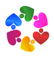 Teamwork handle hearts logo vector image vector image