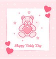 teddy bear valentine card love text icon vector image