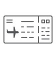 ticket thin line icon pass and tourism plane vector image vector image