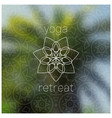 tropical yoga retreat realistic banner with vector image