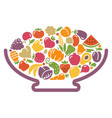 vase with fruits and vegetables vector image vector image