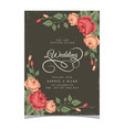 wedding invitation pink roses dark green backgroun vector image vector image