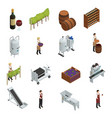wine production isometric set vector image