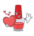 with heart nail polish mascot cartoon vector image