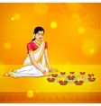 Woman burning diya for Indian festival Diwali vector image vector image
