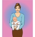 Woman holding a child in retro vector image