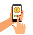 woman holding smartphone with bitcoin vector image vector image