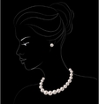 Woman with pearl jewelry vector image vector image