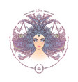 zodiac sign portrait of a woman libra vector image vector image