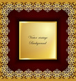 abstract golden square lace frame with paper vector image