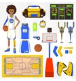 Set of basketball elements vector image