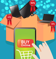 Shopping Online with Smart Phone vector image