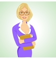 business woman with glasses standing with folder vector image