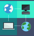 flat icons planets and computer connection vector image