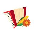 accordion corn cob and flower decoration vector image