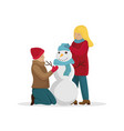amily makes a snowman before christmas vector image vector image