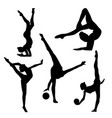 black silhouette of gymnast on white background vector image vector image