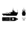 black silhouette rescue ship vector image vector image