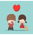 Boy heart-shaped balloons gives vector image vector image