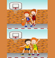 boys playing basketball by the street vector image