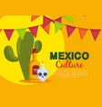 cactus with skull and tequila to traditional event vector image vector image
