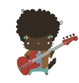 Cartoon casual little afro cat with guitar flat vector image vector image